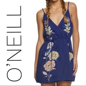 O'Neill Royal Blue Floral Wrap Dress NWOT